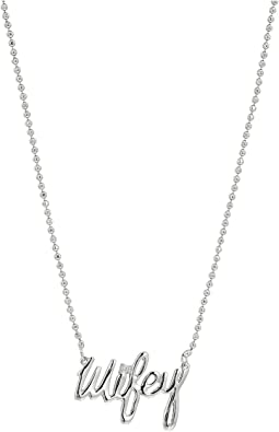 Betsey Johnson - Blue by Betsey Johnson Delicate Necklace Chain and 'Wifey' Pendant with Cubic Zirconia Stone Accent