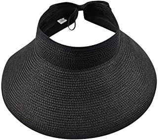 NVKING Women's Summer Foldable Straw Sun Visor w/Cute Bowtie Hat Camping Cap Beach Hat