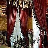 Luxury Velvet Curtain Blackout Curtains Vintage Pom Pom Window Curtains Thermal Insulated Rod Pocket Tassel Drapes for Bedroom Livng Room Decor-Dark Purple 250x270cm(98x106inch)
