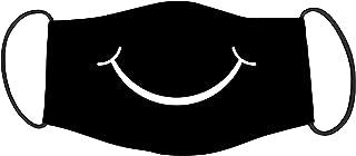 Vista Smiley Mask for Adults - Black -Cotton Reusable Washable Mask Size 20x13 cms