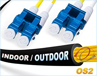 FiberCablesDirect - 1M OS2 LC LC Fiber Patch Cable | Indoor/Outdoor Duplex 9/125 LC to LC Singlemode Jumper 1 Meter (3.28ft) | Length Options: 0.5M-300M | smf lc-lc dx Single-Mode in/Outdoor Black