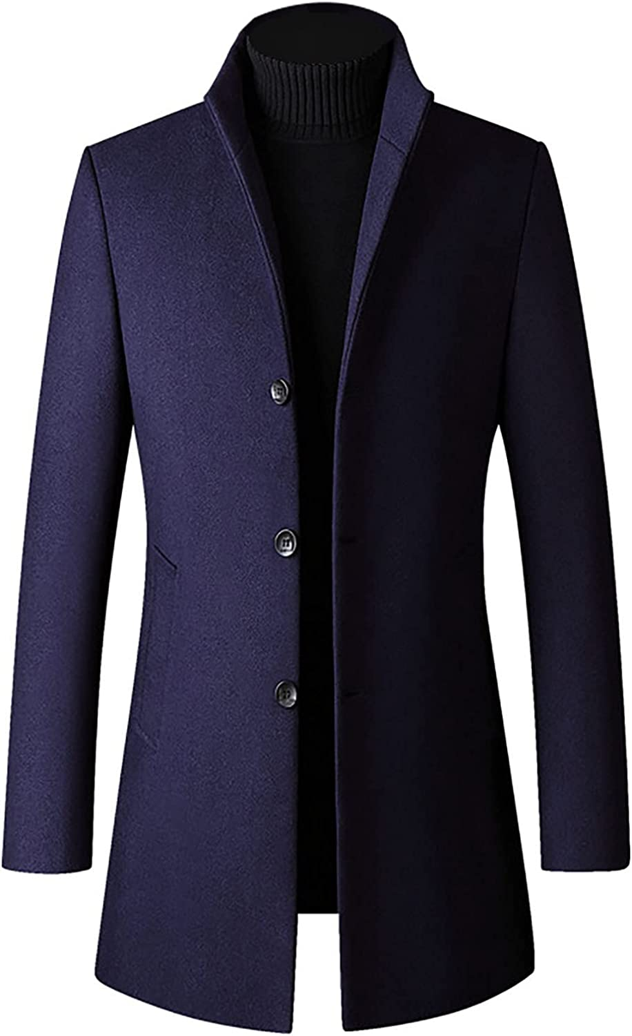 PAOGE Men's Long Direct sale of manufacturer Coat Autumn Sleeved Sta Max 86% OFF Color Winter Solid