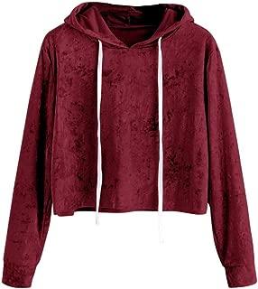 CUCUHAM Womens Long Sleeve Hoodie Sweatshirt Jumper Hooded Pullover Tops Velvet Blouse