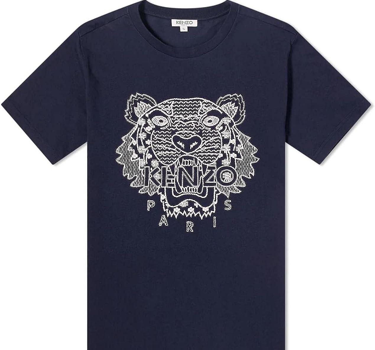 Kenzo Men's Embroidered Tiger Shibori Navy Blue Short Sleeve T-Shirt XXL