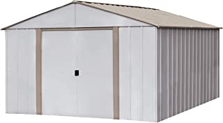 Arrow Oakbrook High Gable Steel Storage Shed, Eggshell/Taupe, 10 x 14 ft.