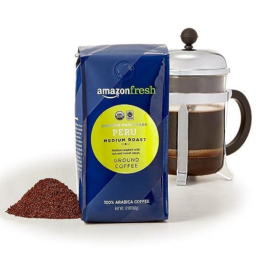 AmazonFresh Organic Fair Trade Peru Ground Coffee, Medium Roast, 12 Ounce