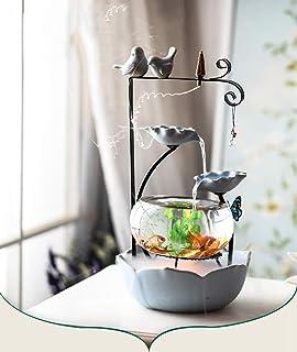 JIANGU Oficina de Mesa de Acuario de cerámica - Alta pecera Redonda de Vidrio Transparente