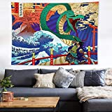 nobranded Ukiyo-e Japanese-Style Living Room Tapestry sea Wave Tapestry Decorative Painting Surfing Hanging Cloth Background Cloth