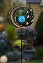 CT DISCOUNT STORE Decorative Moon and Silver Star with Changing Color Solar Power Crackle Glass Ball Metal Garden Stake Light for Pathway, Lawn, Patio, Yard