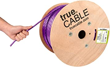 Cat6A Riser (CMR), 1000ft, Purple, 23AWG 4 Pair Solid Bare Copper, 750MHz, ETL Listed, Unshielded Twisted Pair (UTP), Bulk Ethernet Cable, trueCABLE