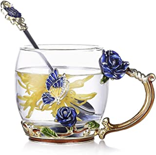 evecase Enamels Butterfly Flower Lead-Free Glass Coffee Mugs Tea Cup with Steel Spoon Set, Personalised Gifts for Women Wi...