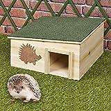 Urbnliving Grande cabane en bois pour hérissons, abri d'hibernation imperméable, habitat de jardin extérieur - toit amovible en bitume et 2 pièces