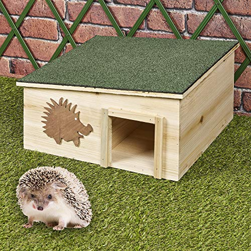 URBNLIVING Large Wooden Hedgehog House - Rainproof Hibernation Nesting Shelter Box - Outdoor Garden Habitat - Detachable Bitumen Roof and 2 Rooms