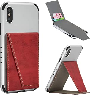 BIBERCAS Phone Card Holder with Stand,Adhesive Stick On Credit Card Slot, Leather Wallet Case with Kickstand for iPhone Android Universal Smartphones-Red