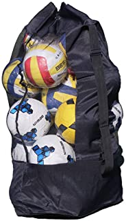 超大网状设备袋 大容量可容纳 15 个足球球 橄榄球 篮球 足球袋 重型运动行李袋 收纳包 - 可调节抽绳和肩带
