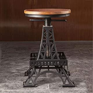 Kays Barstools Adjustable Vintage Solid Wood High Stool Bar Chairs Seat, Home Pub Cafe Wrought Iron Counter Breakfast Dining Stools