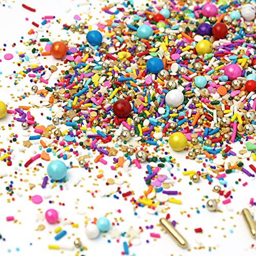 Rainbow Beam| Red Orange Yellow Green Blue Pink Purple White Gold Hearts Birthday Colorful Candy Sprinkles Mix Baking Edible Cake Cupcake Toppers Cookie Ice Cream Decorations Topping, 2OZ(sample size)