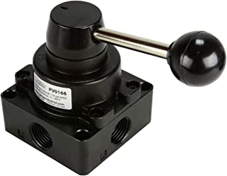 Closed Center Rotary Detent Hand Lever Pneumatic Air Control Valve 4 Port 4 Way 3 Position 1/2