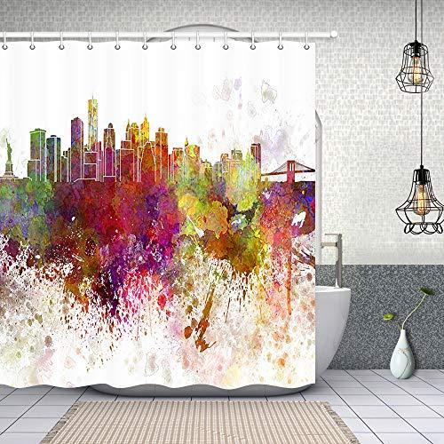 NYMB Home Decor Watercolor New York City Skyline Duschvorhang, 175,9 x 177,8 cm, schimmelresistentes Polyestergewebe, fantastische Dekorationen, Badvorhang-Haken im Lieferumfang enthalten