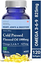 Carbamide Forte Cold Pressed Organic Flaxseed Oil 1000mg Supplement with Omega 3-6-9 825mg for Women & Men – 120 Capsules