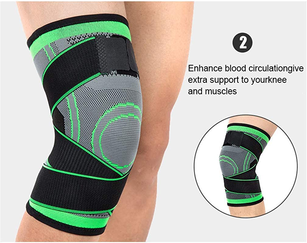 Crossfit Ideal for Running Knee Sleeve Anti-Slip Compression Knee Sleeve Single Wrap Basketball and Other Sports Adjustable Knee Brace for Arthritis Meniscus Tear Quick Recovery