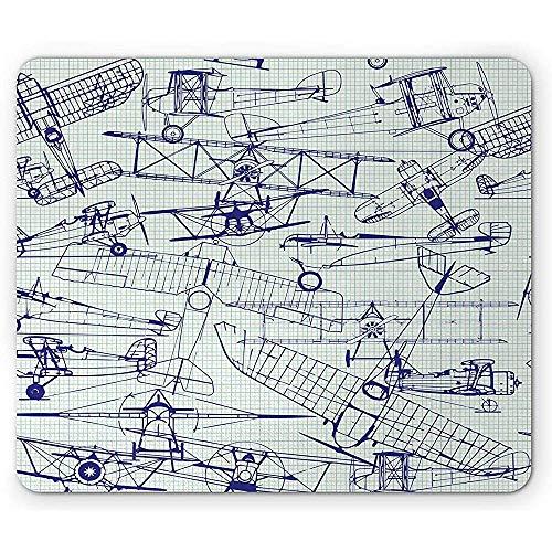 Vliegtuig muis pad, oude vliegtuig tekeningen klassieke gedateerd vlucht vintage stijl nostalgische jets, muismat,