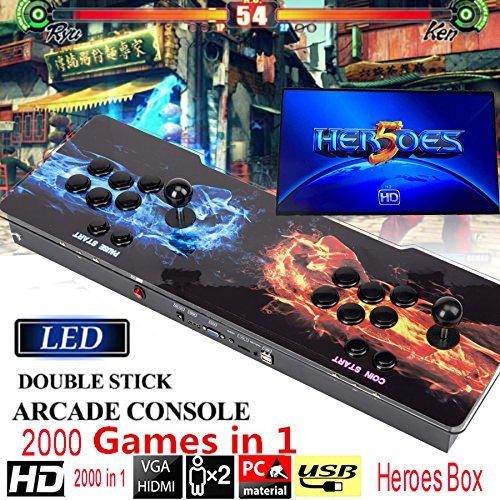 STLY 2000 in 1 Heroes Box 5 Classic 2 Joystick Arcade Video Black Games Console LED