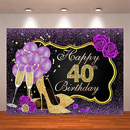 Crefelicid 2 1 X 1 5 M Schwarz Gold Lila Happy 40th Birthday Hintergrund Glitzer Blume