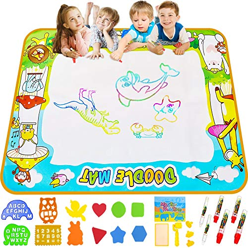 "Miserwe Large Doodle Mat Water Writing Doodle Drawing Mat Neon Colors Board, with 25 Pack Drawing Accessories for Kids Toys Toddlers Educational Girls Boys Size 39.3"" X 27.5"""