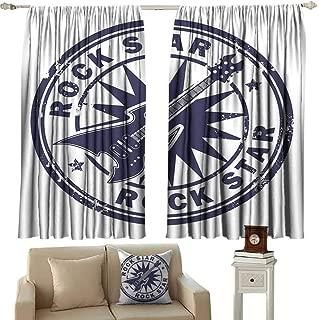 Wlkecgi Heat Insulation Curtain Rock Music Vintage Logo Design Guitar and Sun Pattern Grunge Stamp Monochrome Illustration Noise Reducing Curtain W63 xL72 Cobalt Blue