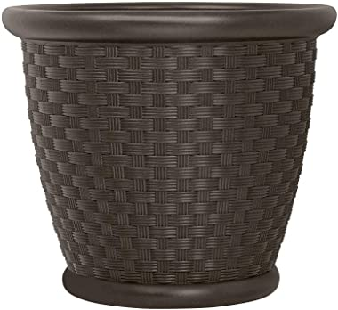 "Suncast p181605e34 18"" Sonora Resin Wicker Planter Contemporary Lightweight Flower Pot for Indoor and Outdoor, Use, Home, Yar"