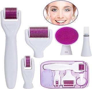 6 in 1 Derma Roller Kit met 5 verwisselbare koppen voor gezichts- en lichaamshuidverzorging Gebruikt voor het verminderen ...