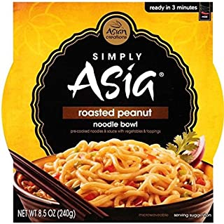 Simply Asia roasted peanut noodle bowl, pre-cooked asian noodles with peanut sauce & roasted peanut topping ONE 8.5 oz Microwave Bowl