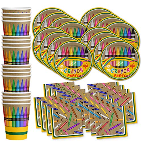 Crayon Birthday Party Supplies Set Plates Napkins Cups Tableware Kit for 16