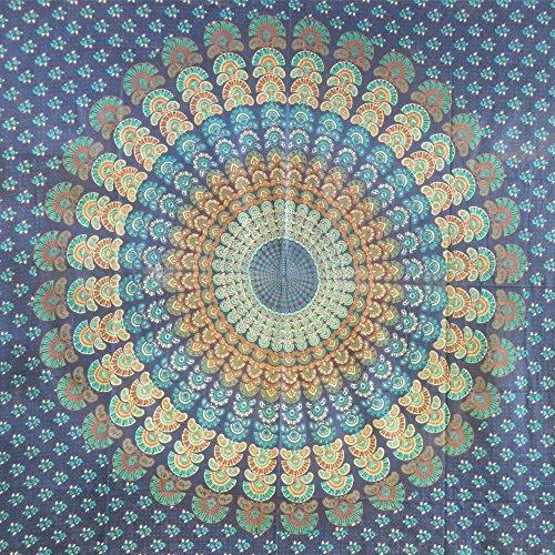 Couverture indienne Tenture PAON Bleu foncé-Turquoise 225x200cm Coton Ameublement Décoration Textile Couvre-lit