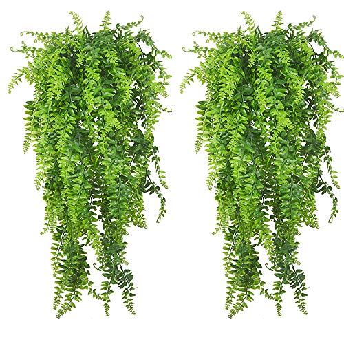 PINVNBY Reptile Plants Hanging Fake Vines Boston Climbing Terrarium Plant with Suction Cup for Bearded Dragons Lizards Geckos Snake Pets Hermit Crab and Tank Habitat Decorations (2 Pack)