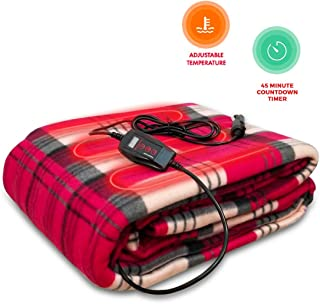 Zento Deals 12V Electric Blanket -Red Plaid Premium Quality Blanket for Cold Days and Nights Road Trip, Home and Camping Comfy Protector