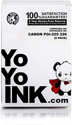 YoYoInk 5 件装兼容墨盒替换装适用于 PGI-225 & CLI-226(1 黑色,1 照片黑色,1 深蓝色,1 品红色,1 黄色)适用于 MG5220 MG5320 MX882 MX892 MG6220