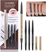 UCANBE 4 in 1 Makeup Micro Eyebrow Pencil Set, Dual-Ended Sweat &Waterproof Ultra Fine Skinny Tip Percise Definer, Black Brown Fill & Shape Brow Mechanical Auto Pen Kit