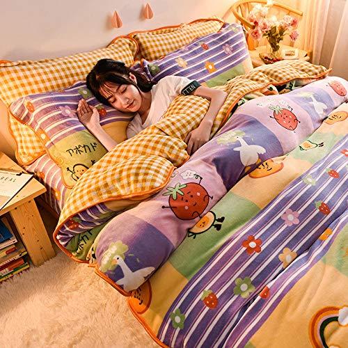 juego de ropa de cama 160x200-Otoño e invierno, franela gruesa, cama doble individual, cama individual, edredón de plumón, ropa de cama familiar extra grande de Navidad-H_Cama de 1,8 m (4 piezas)