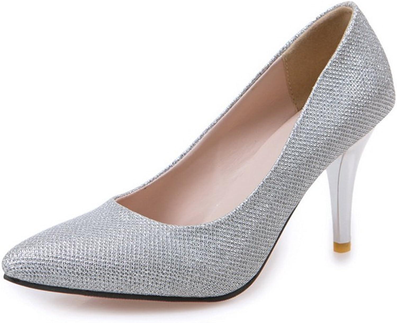 A&N Ladies Sequin Spikes Stilettos Low-Cut Uppers Sequin Pumps-shoes