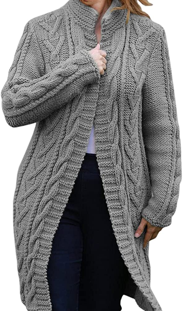 Women's Long Sleeve Open Front Cardigan Casual Lightweight Soft Chunky Cable Knit Cardigan Sweaters Loose Outwear Coat