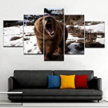 LZLZ 5 lienzos Canvas HD Prints Poster Home Wall Art 5 Piezas Animal Brown Bear Snow Paintings Abstract Pictures Living Room Decor