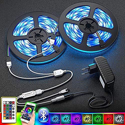 YYhkeby 5050 luz de Tira llevada DC12V SMD RGB Bluetooth Cinta Cinta diodo Led Luces de Tira Flexible IP65 a Prueba de Agua con Adaptador for la decoración 5M Jialele