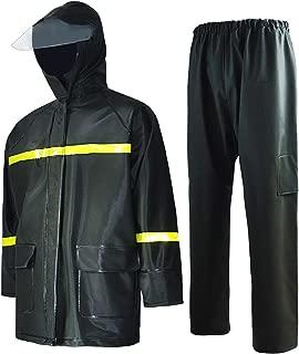 Rain Suit-Waterproof Jacket and Pants Durable Rain Gear for Men Women Hooded Fishing Work Wear 0.50 mm PVC 2-Layer (L (69''~71''), Dark Green)