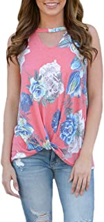 Floral Tank Top Women Cut Out V Neck Sleeveless T-Shirts Front Knot Irregular Tees
