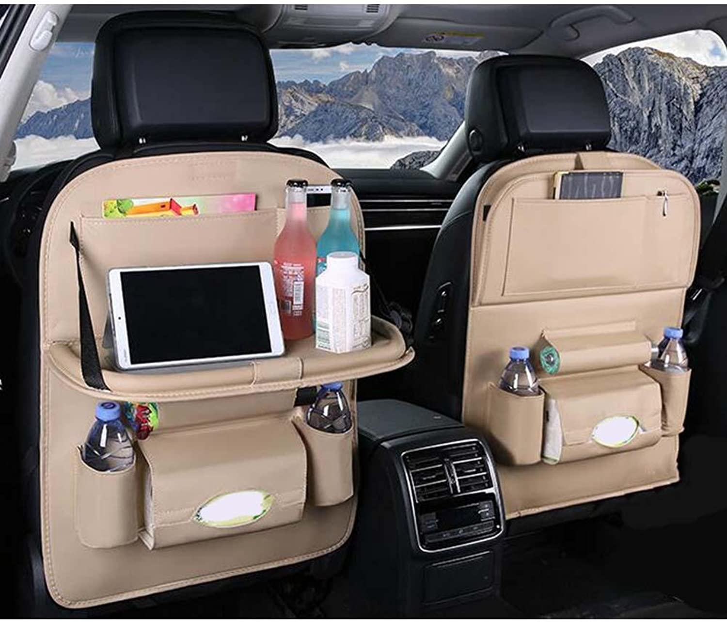 XIAOLI& 2 Pieces Car Backrest Storage Bag Hanging Bag MultiPurpose Storage Box Foldable Dining Table, Beige