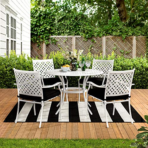 sunjoy patio furniture sets Sunjoy Marquis Collection 5-pc. Steel Lattice Dining Set with Seat Cushions, Black