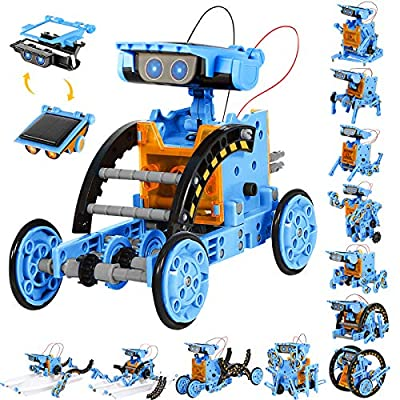 Sillbird STEM 12 in 1 Solar Robot Toys for Kids, 190 Pieces Solar and Cell Powered Dual Drive Motor DIY Building Science Learning Educational Experiment Kit, Gift for Boys Girls Aged 8-12 and Older