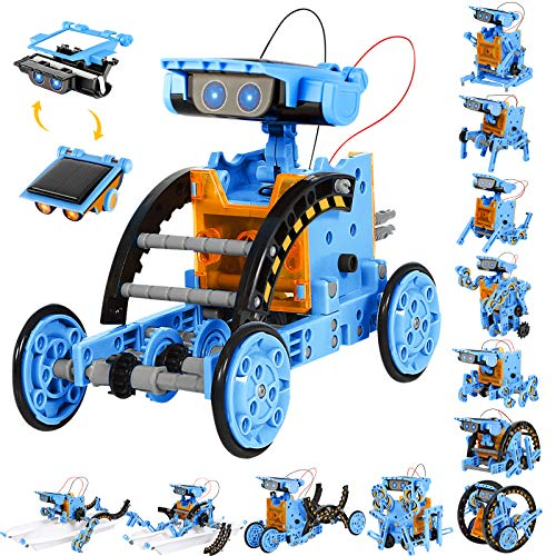 Sillbird STEM Projects 12 in 1 Solar Robot Toys for Kids, 190 Pieces Solar and Cell Powered Dual Drive Motor DIY Building Science Learning Educational Experiment Kit, Gift for Boys Girls Aged 8-12